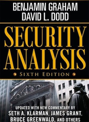 cover page of investing book titled Security Analysis by Benjamin Graham