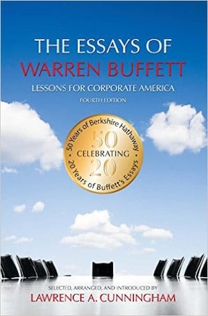 book cover image of The Essays of Warren Buffett with empty conference table and sky